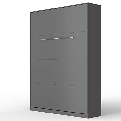 SMARTBett Standard 140x200cm Verticale Antracite Comfort   Letto A Scomparsa, Letto A Muro, Letto A Parete, Letto Ribaltabile, Latto Armadio