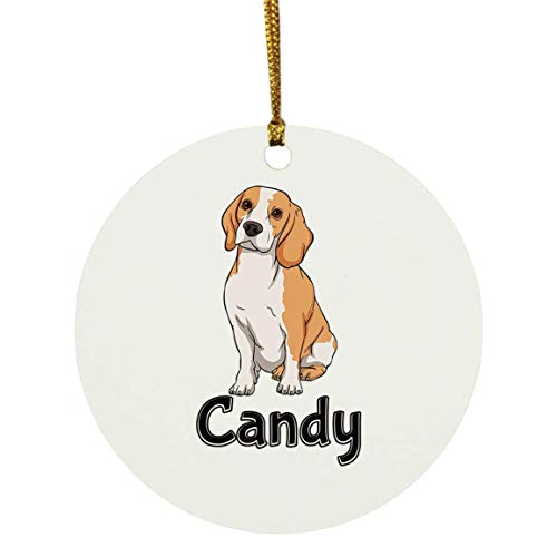 Weezag Candy Beagle Dog Christmas Ornaments Tree Decor Decorations, Custom Personalized with Your Name Xmas Ornament Dog Lover Gifts for Pet Owner, 9320