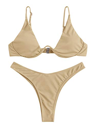 Verdusa Women's Sexy Triangle Bathing Two Pieces Swimsuit Bikini Set Apricot M