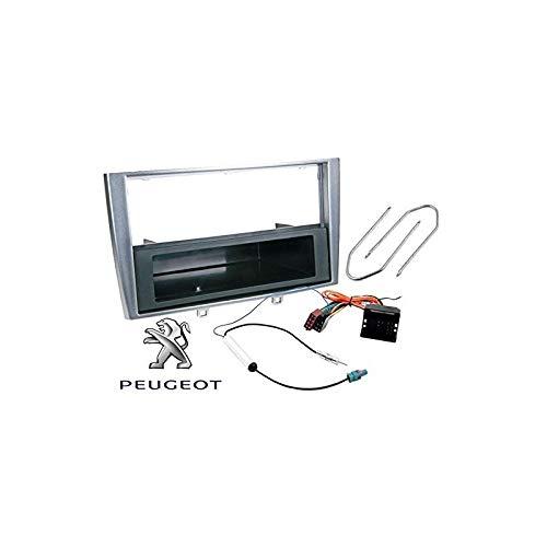 Sound-way Kit Montage Autoradio avec Vide Poche, Cadre Façade 1 DIN / 2 DIN, Cable Adaptateur Connecteur ISO, Clés Demontage, Adaptateur Antenne Compatible avec Peugeot 308 / SW/CC/RCZ Coupe
