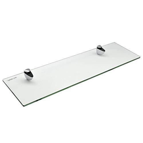Estante para Cuarto de baño - Cristal Templado con herrajes cromados - 50cm