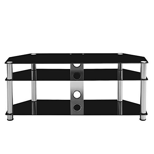 Soporte de TV de cristal negro, mueble de 3 niveles con panel trasero de cable, mesa de visualización de sala de estar, (para televisores: 32 hasta 60 pulgadas)
