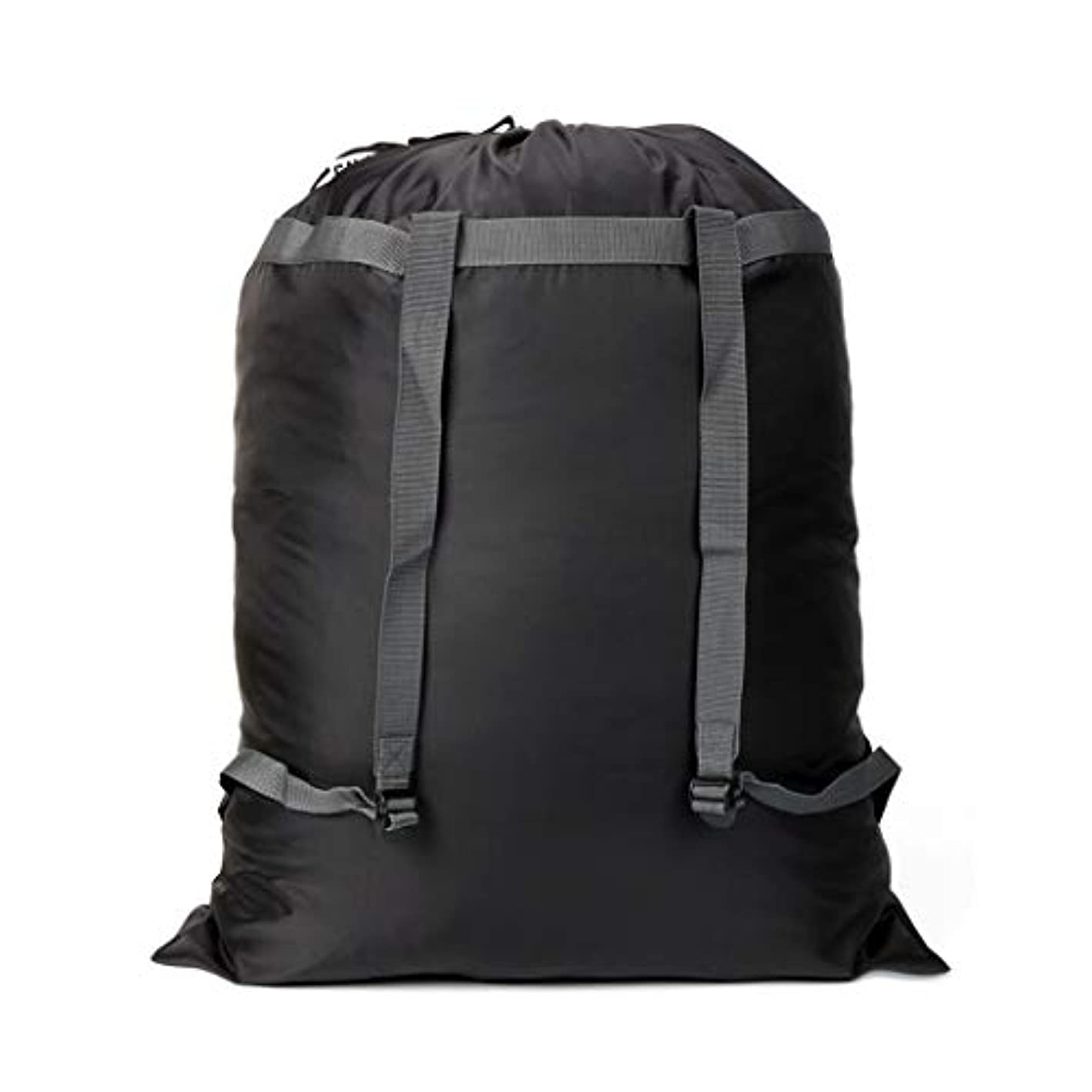 """CALACH Extra Large Laundry Bag Backpack, 27"""" x 34"""" - Sturdy and tear resistant polyester backpack with drawstring closure and Adjustable Shoulder Straps Machine Washable Fold Travel Black Laundry bags"""