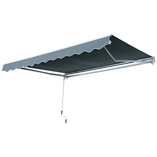 Outsunny Markise Gelenkarmmarkise Sonnenschutz Handkurbel Balkon Alu Grau 3,95x2,5m