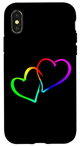 iPhone X/XS LGBTQ Lesbian Homosexual Pansexuality Rainbow Hearts Case