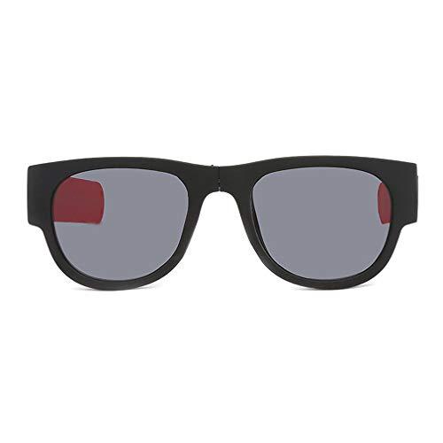 Nrew Gafas de Sol Plegables Popa Circle para Montar Gafas de Sol para Hombre Gafas de Sol Plegables Marco Negro Pierna roja