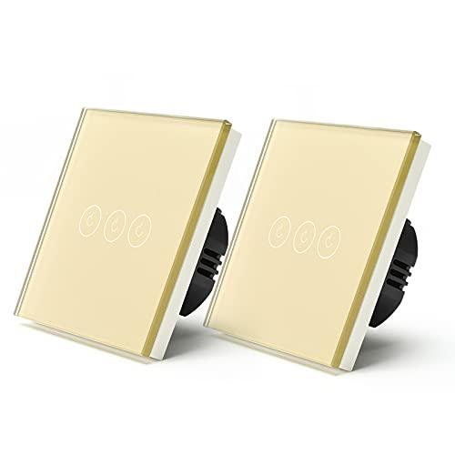 BSEED WiFi Interruptor de Luz 3 Gang 2 Vías Interruptor Smart con panel de vidrio Oro,Compatible con Alexa y Google Home, Control de APP y Función de Temporizador, Neutral Requerido-2 Paquete