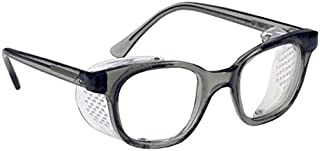 Glass Safety Glasses in Plastic Smoke Gray Safety Frame with Permanent Side Shields, 50mm Eye Size, Clear Glass Lenses