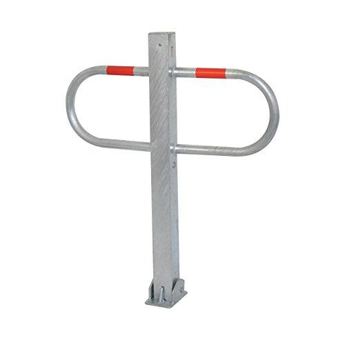 Durchgangssperre Parkplatzsperre umlegbar mit Bodenplatte 100 x 150 mm für Dübelbefestigung und Dreikantverschluss
