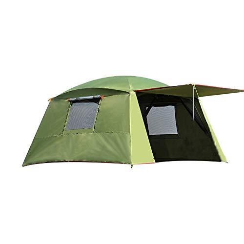 PLEASUR familie 3-4 personen dubbellaagse tent, regenbestendige zonweringtent in de open lucht 4 hoeken tuinhuisje multiplayer-party-campingtent luifelbescherming zonwering, legergroen