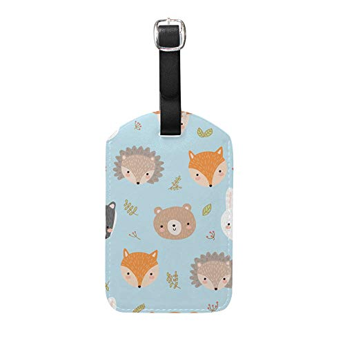 CHEHONG Luggage Tags PU Leather Tag Cute Forest Animals Name ID Labels Preventing Loss Travel Bag Suitcase Privacy Cover Baggage Case Handbag 2 PCS