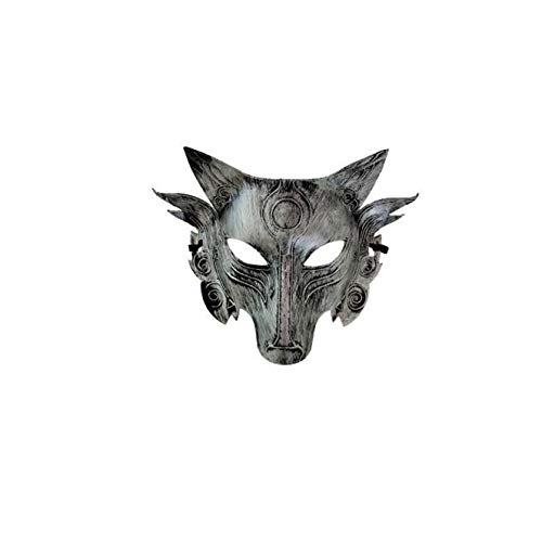 Halloween mask animal wolf head mask masquerade mask (Silver)-1Pieces