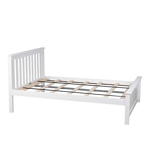 Max & Lily Solid Wood Full-Size Bed, White