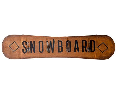 aubaho Snowboard Garderobe Hakenleiste Kleiderhaken Dekoration Wanddeko Holz Antik-Stil