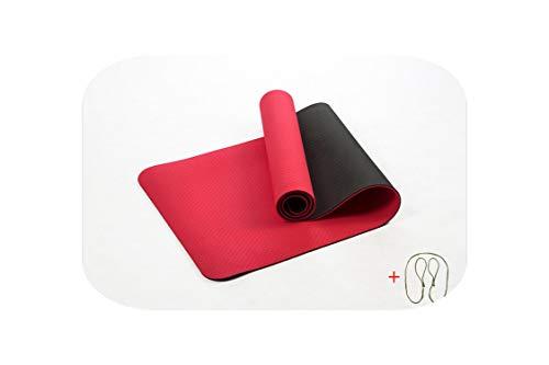 Big Incisors-CA Tapis de Yoga Grand | 6MM TPE Tapis de Yoga élastique antidérapant pour débutant Fitness Fitness Pilates Mat Lamination Multicolor Carpet Gym Tapis d'exercice-Rouge-