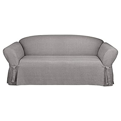 Surefit Loveseat Slipcover - One Piece - Straight Skirt with Ties - Up To 72 Inches - Machine Wash, 58 to 73-inches, Gray