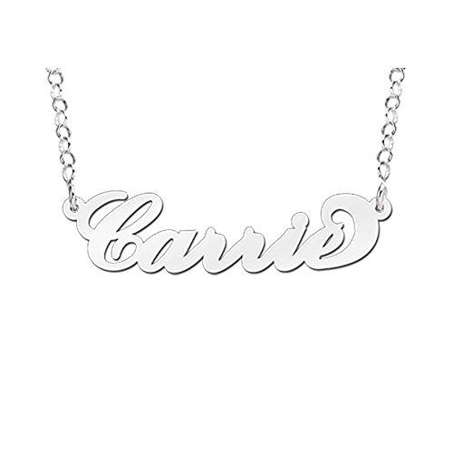 """Namesforever Namenskette für Erwachsene """"Carrie"""" - Anhänger mit Ihrem Namen inkl. Ankerkette aus Silber"""