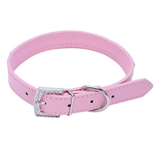 Fltaheroo Bling de Cuero del Rhinestone Lleno de Mascotas de la PU del Diamante para el Gato Perro Perrito Collares (Rosa, L: Tamano de Cuello de 14'-18')