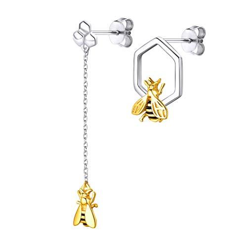 Pendientes de plata de ley 925 con diseño de abeja miel, joyas con incrustaciones de oro de 18 quilates esmaltadas en dos tonos asimétrico
