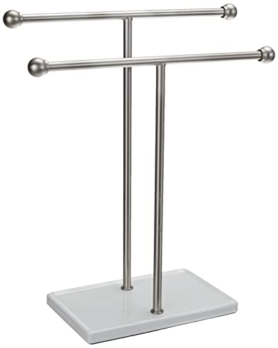 Amazon Basics Double-T Hand Towel Holder and Accessories Jewelry Stand, Nickel/White -...