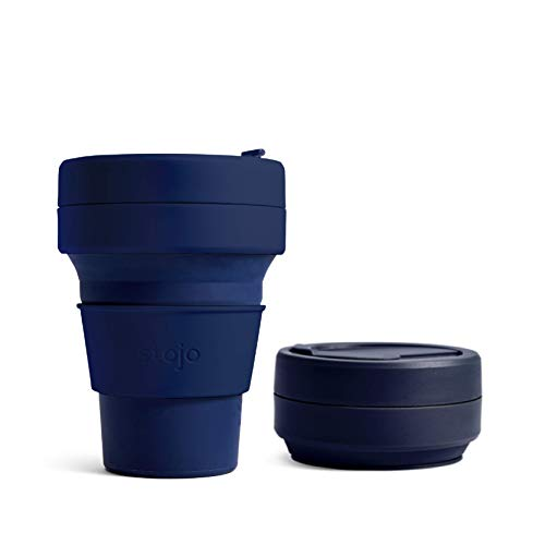 Stojo On The Go Collapsible Coffee Cup | Pocket Size Collapsible Silicone Travel Cup | Brooklyn Collection - 8oz / 237ml - Mini Denim