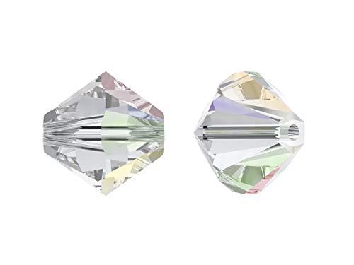 Xilion Swarovski Beads, Bicone 5328, 4mm, 18 Piezas, Cuentas de Vidrio facetadas en la Forma de Cono Doble (Linterna), Crystal AB (Transparent with Rainbow Coating)