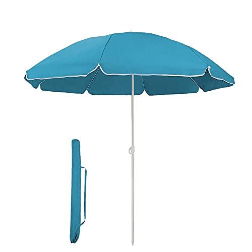 Mediawave Store - Ombrellone da Spiaggia Rotondo per Giardino da Mare per Esterno Balcone in Metallo con Telo in Nylon, Ombrellone Tondo Parasole, Protezione Solare 253006 (Azzurro)