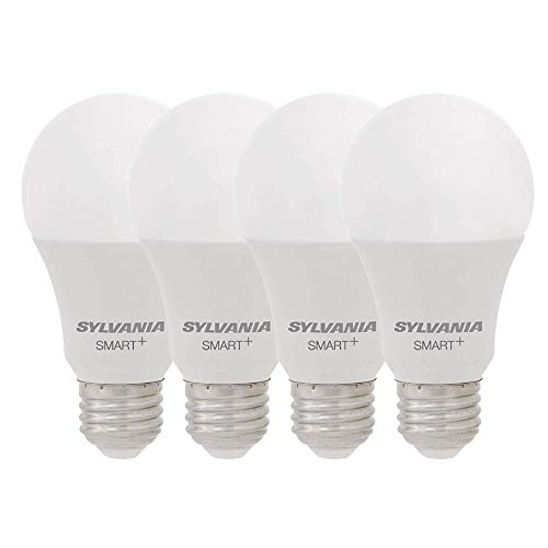 SYLVANIA Smart+ Wi-Fi Soft White Dimmable A19 LED Light Bulb, CRI 90+, 60W Equivalent, Compatible with Alexa and Google Assistant, 4 Pack