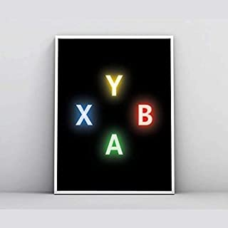 Quadro para decoração botões neon jogo xbox