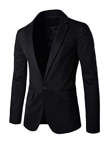 uxcell Men's Suit Jacket One Button Slim Fit Casual Lightweight Sport Coats Blazer Black 46
