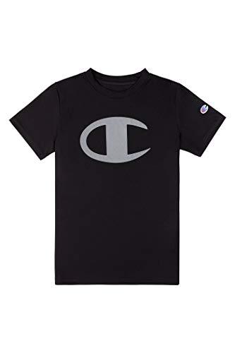Champion Kids Clothes Boys Performance Big Logo Tech Athletic Tee Shirt (Large, Black)