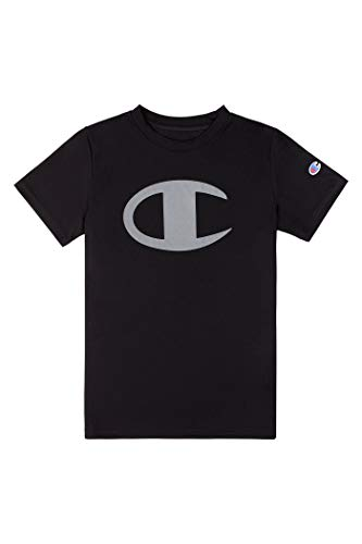 Champion Kids Clothes Boys Performance Big Logo Tech Athletic Tee Shirt (Small, Black)