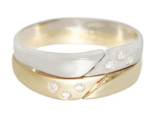 Witgoud geelgoud ring 585 met briljante gouden ring briljantring dames bicolor hobra-goud