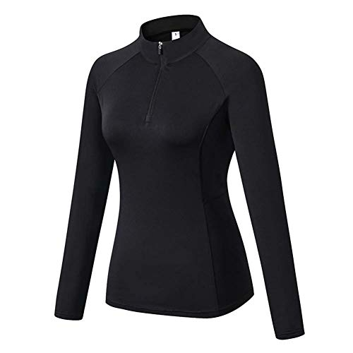 Junyue Womens Pullover 1/4 Zip Running Jacket Long Sleeve Workout Tops with Thumb Holes Yoga Shirts, Black, Large