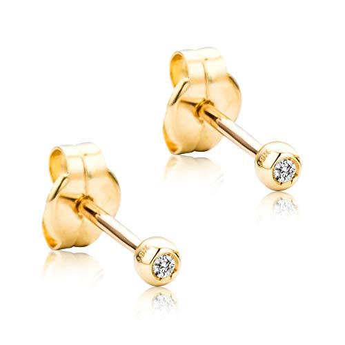 Orovi - Pendientes para mujer con diamantes de oro amarillo solitario de 18 quilates (750) y diamante de 0,02 quilates