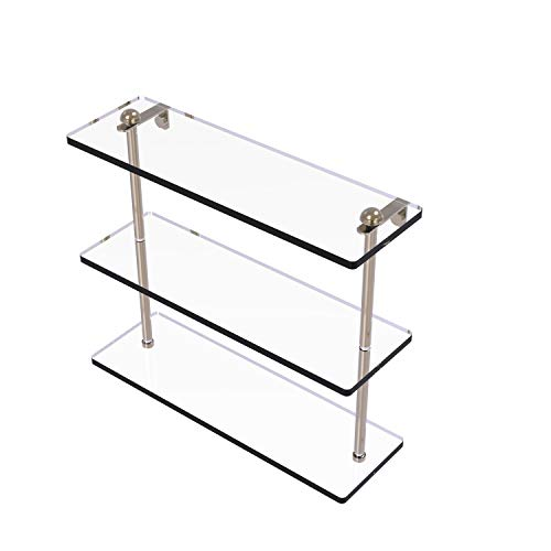 Allied Brass RC-5/16 16 Inch Triple Tiered Glass Shelf, Antique Pewter