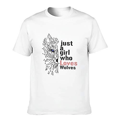 Camiseta de algodón para hombre, diseño con texto 'Just A Girl Loves Wolves', divertida y cómoda, manga corta blanco XXXL