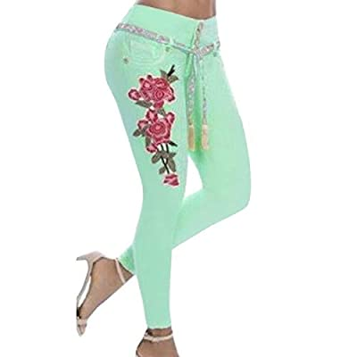 HOSDWoman Floral Embroidery Jeans Casual High Waist Jeans Pants Green from HOSD