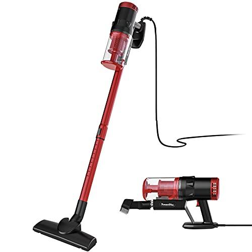 RewardHSU - Aspirador escoba sin bolsa, aspirador de mano 2 en 1, 800 W/18 kpa, potencia de aspiración, filtro HEPA, sistema ciclón, negro/rojo