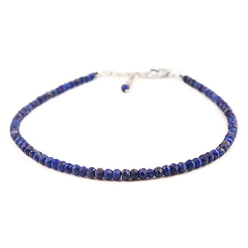 InfinityGemsArt pulsera pulgadas 8 laminado con rodio 925 cristales de plata de ley natural lapislázuli cristales de la pulsera joyería hecha a mano de reiki chakra healing piedra de la energía del re