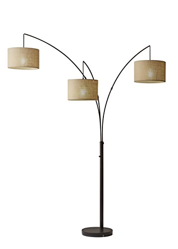 Adesso 4238-26 Trinity Arc Floor Lamp Antique Bronze Finish, Beige Burlap Lamp. Home Decor Lamps and Light Fixtures, 82""