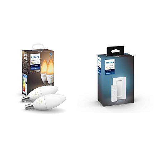 Philips Hue 2 Bombilla Inteligente VelaLED E14 + Philips Hue Hue Dimmer Switch Interruptor inteligente