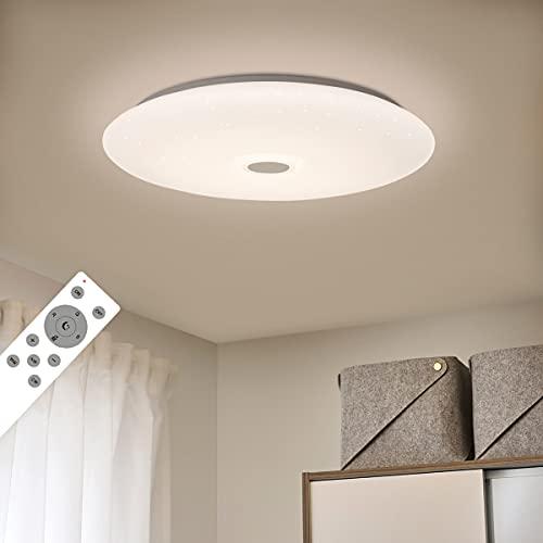 SHILOOK LED Deckenleuchte Led Dimmbar mit Fernbedienung, 24W Sternenhimmel Deckenlampe Rund mit RGB Farbwechsel für Schlafzimmer Kinderzimmer Wohnzimmer Küche, 3000-6500K 2050LM, Weiß 38cm Modern