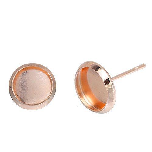 SiAura Material ® - 20 Stück (10 Paar) Kupfer Ohrstecker Rohlinge, 10x14mm für 8mm Cabochons, rosegoldfarben