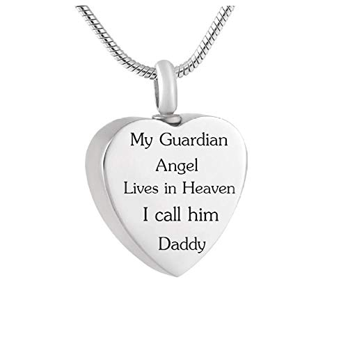 Wxcvz Cremation Necklace Forever In My Heart Cremation Necklace,My Guardian Angel Lives In Heaven I Call Him Daddy Keepsake Urn For Ash