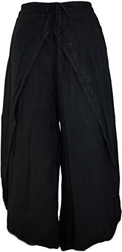 Guru-Shop Palazzohose, Boho Hosenrock, Orienthose, Sommerhose, Damen, Schwarz, Synthetisch, Size:38, Lange Hosen Alternative Bekleidung