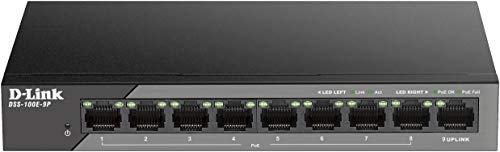 D-Link DSS-100E-9P, Switch Fast Ethernet, Long Range PoE 250 metros, sin gestión, 92 W PoE budget, 8p Fast Ethernet PoE, 1p Gigabit LAN, protección 6kv Surge, sin ventilador, metálico