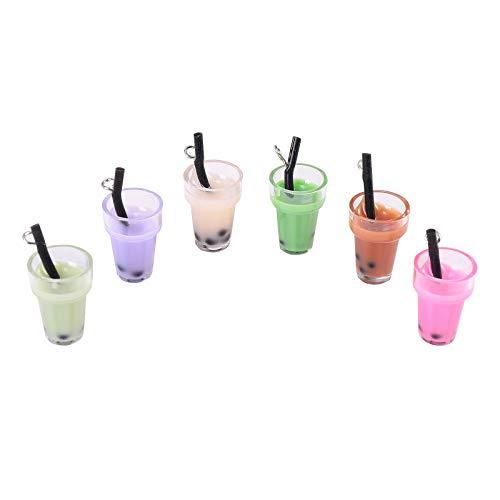 Airssory 20 colgantes de plástico de imitación de tazas, colgantes de imitación de burbujas de té de leche Boba para pendientes, pulseras, collares, marcapáginas y manualidades