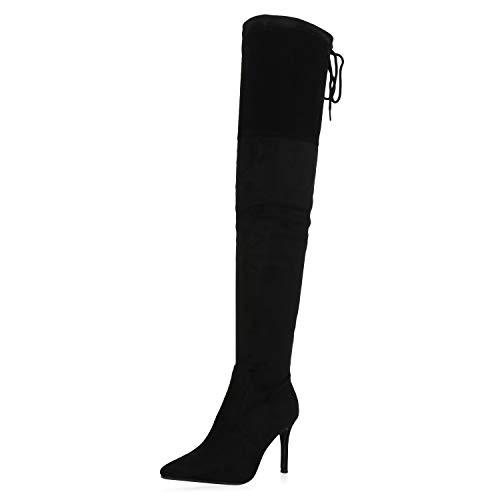 SCARPE VITA Damen Stiefel Overknees Leicht Gefütterte Stiletto High Heel Boots Wildleder-Optik Schuhe Spitze Absatzschuhe 186078 Schwarz Schwarz 38