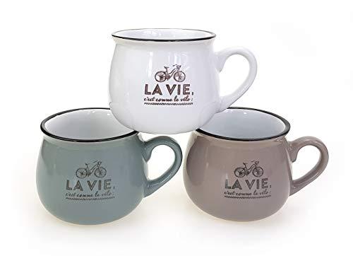 3 x Tasse La Vie im Set je 250ml, Porzellan grau weiß taupe, Kaffeebecher Kaffeetasse Becher Teetasse Emaille Optik